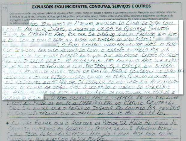 Súmula do árbitro Rodrigo Nunes de Sá, com palavrões borrados